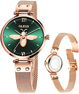 Ladies Fashion Watches with Rose Gold Mesh/Green Leather,Women's Luxury Watch, Watch for Women,Women's Casual Watch,Lady Amazon Watch,Lady Gold Watch,Quartz Watch Lady,Waterproof Watch Lady