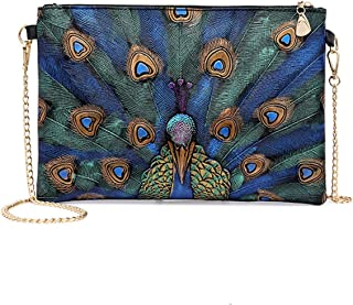 ZKHOECR Womens PU Leather Peacock Painting Envelope Clutch with Chain Strap Bags