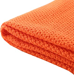"""TREELY 100% Cotton Knitted Throw Blanket for Couch Chair Bed Home Decorative, Soft & Cozy Knit Throw Blanket(50""""x60"""", Orange)"""