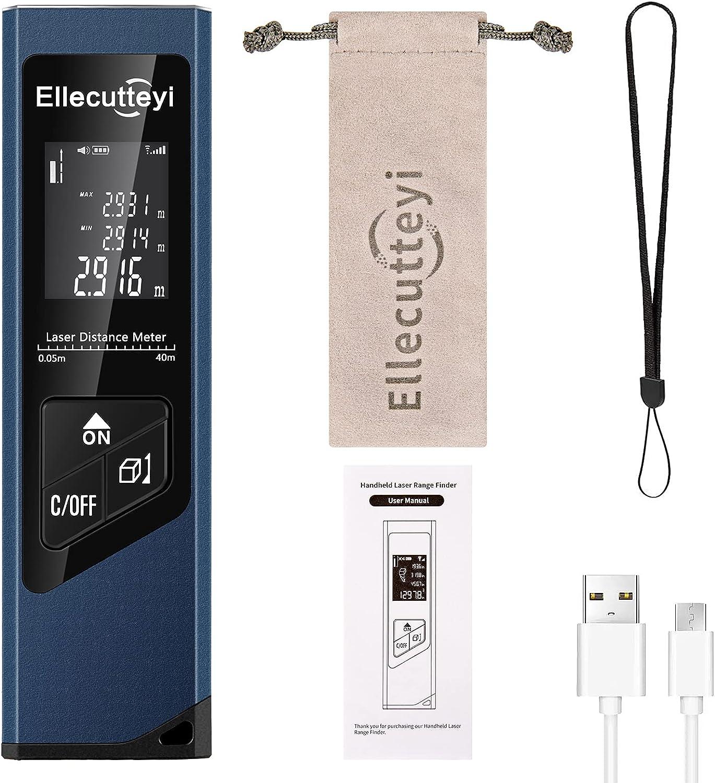 HBDjunn Mini Telemetro Laser 40M,131Ft USB Recargable Medidor Láser Mudo Portátil Metro Láser con LCD Pantalla Retroiluminada Digital, Distancia de Medida, área, cálculo de Volumen
