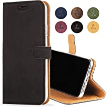 iPhone XR Case, Luxury Genuine Leather Wallet with Viewing Stand and Card Slots, Flip Cover Gift Boxed and Handmade in Europe for Apple iPhone XR (Black)