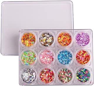 WOKOTO 12 Jars Multi-shape Nail Art Sequins Glitter Powder Mix Color Stars Shape Heart Shape Crescent Shape Colourful Nail Manicure Nail Art Decorations Paillette