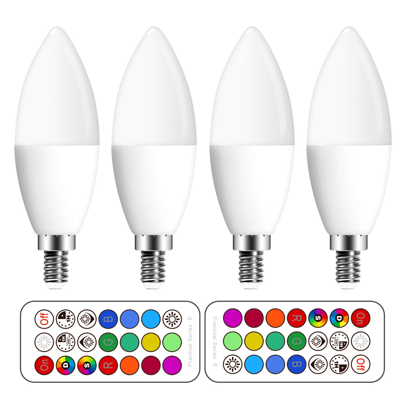 Bombilla led Colores E14, Bombilla RGBW con mando a distancia,3W ...