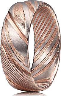 8mm 6mm 4mm Damascus Steel Mens Wedding Rings Wood Grain Bold Hand Forged Grooved Bands