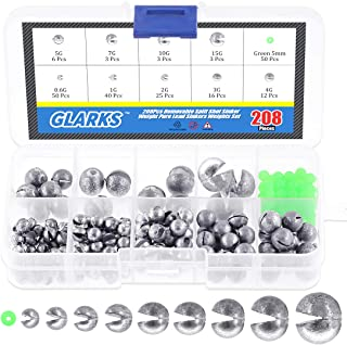 Glarks 208-Pieces 0.6g 1g 2g 3g 4g 5g 7g 10g 15g Removable Split Shot Sinker Weight Pure Lead Sinkers Weights Set Including 50Pcs Green Luminous Fishing Bead