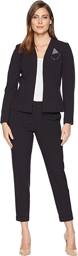 Collarless Jacket with Novelty Pocket Pants Suit