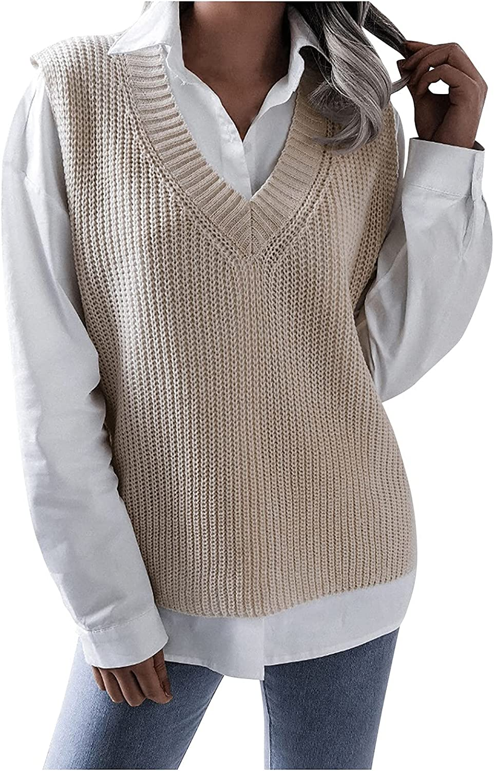 Sweater Vest Women College Style Solid Color Fashion Casual Loose Knit Hollow V-Neck Sweaters Top