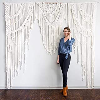 American Knit Bohemian Macrame Wall Hanging Decor Boho Chic Style Macrame Curtain & Macrame Wedding Backdrop Arch 85