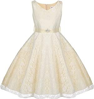 HOTOUCH V Neck Sleeveless Lace Floral Pattern Satin Sash Flower Girl Dress