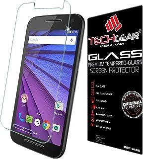 TECHGEAR skärmskydd för Moto G3 (3rd gen/2015 utgåva) – GLASS Edition äkta härdat glas skärmskydd vakt fodral kompatibel m...