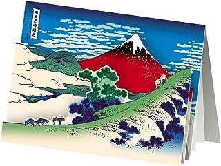 AAY28-1619 和風グリーティングカード/むねかた 立体 「浮世絵 赤富士」 (中紙・封筒付) 再生紙