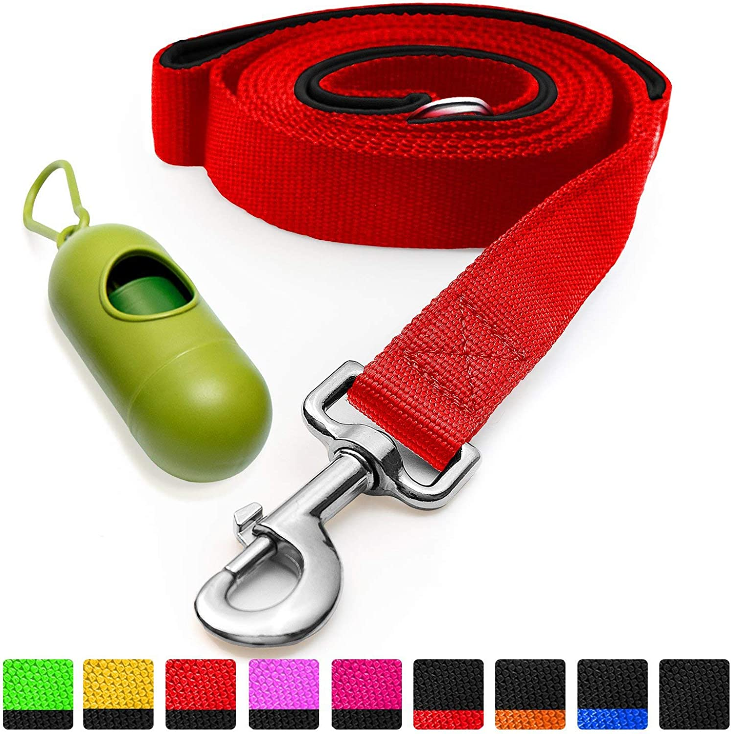 [Strong] Dog Leash with Bonus Free Waste Bag Dispenser  Thick Padded Dual Handles, Includes Poop Bags & 100% Nylon (6ft. Long)  Comfortable Grip  Ideal for Large, Medium and Small Dogs