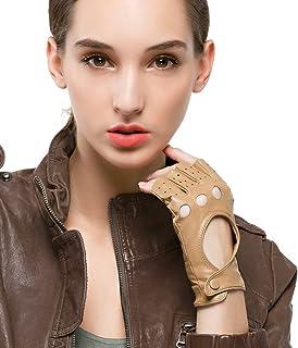 Nappaglo donne classico mezzo dito pelle guanti da guida senza dita la pelle d'agnello fitness outdoor unlined guanti