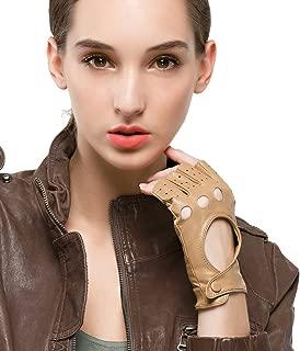 Women's Classic Half Finger Leather Driving Gloves Fingerless Lambskin Fitness Outdoor Unlined Gloves