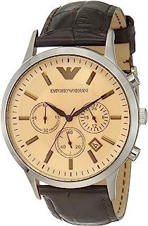 Emporio Armani Men's Chronograph Quartz Watch With Leather Strap Ar2433, Analog Display