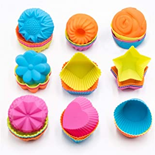 To encounter Silicone Cupcake Baking Cups 36 Pack Non Stick Cake Molds Sets 9 Shapes Silicone Muffin Pan for Baking BPA Free Silicone Muffin Liners