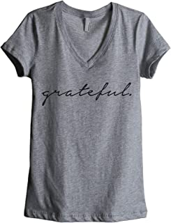 Thread Tank Grateful Women`s Fashion Relaxed V-Neck T-Shirt Tee