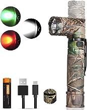 NICRON zaklamp LED USB oplaadbaar, wit rood licht groen licht, 950 lumen extreem helder, draaibare kop, IP65 waterdicht me...