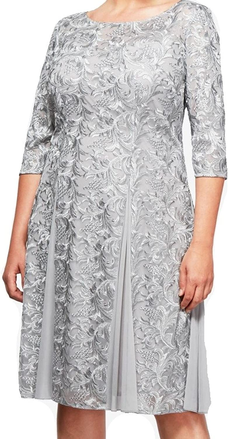 Alex Evenings Womens Plus Floral 3 4 Sleeve Special Occasion Dress