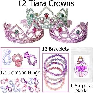Tiaras, Diamond Rings, Jewel Bracelets & More, Girl's Princess Party Favor Pack (12 Crowns, 12 Rings, 12 Bracelets & More)
