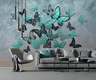 NIdezuiai Customize 4D Mural Wallpaper Wall Decoration,Wallpaper Hd Hand-Painted Stereo Butterfly Nostalgic Background Wall Painting for Children's Room Bedroom Decorated Silk Mural,250Cm(H)×360Cm(W)