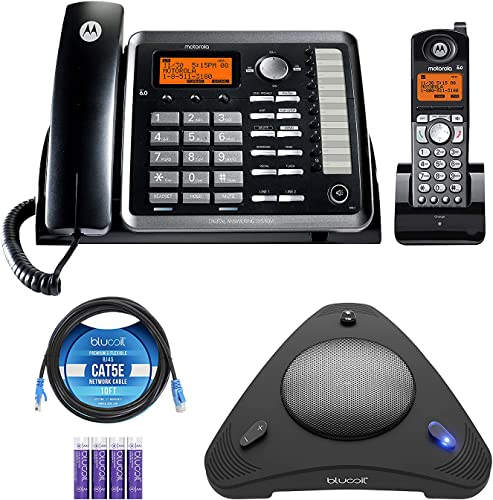 wholesale Motorola ML25255 DECT 6.0 Expandable Corded/Cordless 2-line Business Phone with Caller ID lowest & Answering Machine Bundle with Blucoil 4 AAA Batteries, 10' Cat5e Cable, and USB outlet sale Conference Speakerphone outlet sale