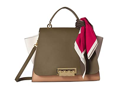 ZAC Zac Posen Eartha Soft Top-Handle w/ Scarf (Herb) Handbags