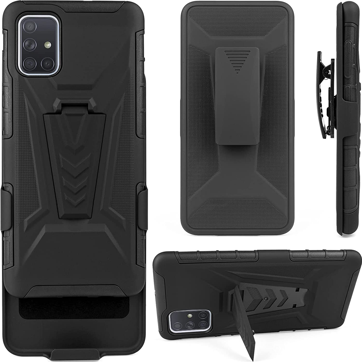 TKMore Belt Clip Case for Samsung Galaxy A71 4G Cell Phone Cover with Kickstand Holder Airbag Anti-Fall Holster Black