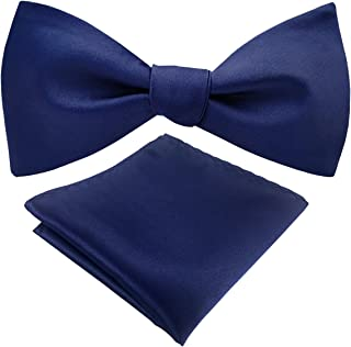 Mens Bowtie Adjustable Solid Self Bow Tie Pocket Square Tie Set, Various Colors