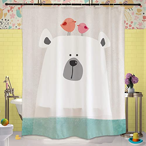 Cartoon Polar Bear In Water Shower Curtain Set With Hooks 71x71