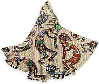 Kokopelli Tribal Rainbow Pattern Adult Men Womens Halloween Christmas Cosplay Hooded Robe Cape Cloak Hoodie Devil Vampire Wizard
