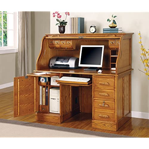 94e3a23952e5 Oak Finish - Roll Top Desk by Coaster Furniture