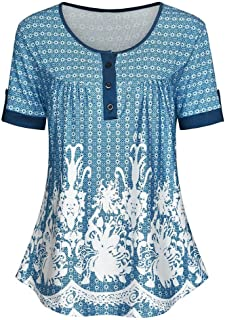 OULSEN Plus Size Women's Blouse Short Sleeve Round Neck Summer Casual Fashion Loose T-shirt Printed Swing Top Shirt