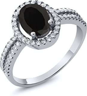 Gem Stone King 925 Sterling Silver Black Onyx Women's Ring (1.85 Ct Oval 8X6MM Gemstone Birthstone Available 5,6,7,8,9)