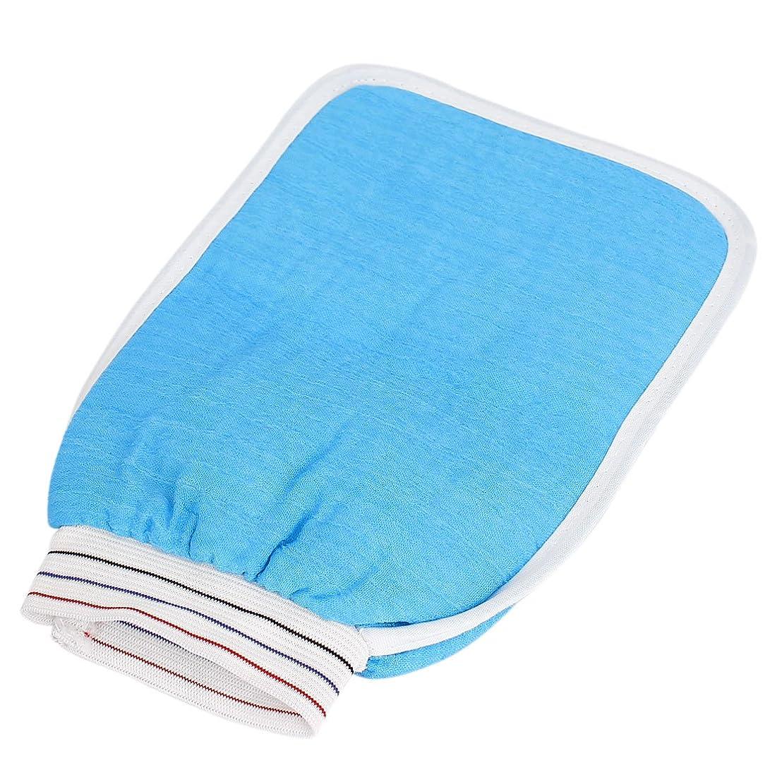 ベーカリージョガーしかしuxcell マッサージ手袋 バスルーム 弾性カフ ダブルサイド シャワー バス 洗濯マッサージグローブ スクラバー ブルー