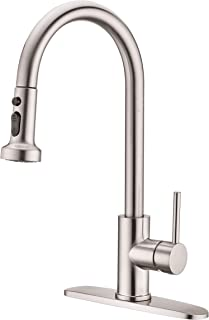 Pull Down Kitchen Sink Faucet, Avola Commercial High Arc Stainless Steel Single Handle Pull Down Sprayer Brushed Nickel Kitchen Sink Faucet,Pull Out Kitchen Faucet with Escutcheon