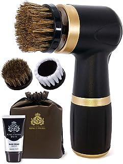 Electric Shoe Polisher Kit (4piece) Quick & Easy Shine Portable Handheld Machine for Leather Shoe Polishing & Care / Brush, Shoe Cream Set (Black)