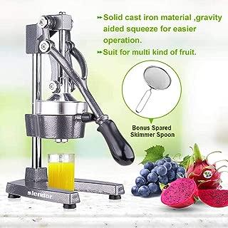 Commercial Citrus Juicer Orange Manual Juice Squeezer Heavy Duty Fruit Presser For Pomegranate Lime Grapefruit Juice Stainless Steel Extractor Cast Iron Body - Bonus Shared Skimmer Spoon