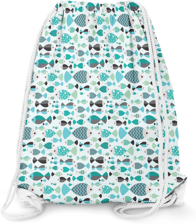 Fish Family Drawstring Bag - Large (13.3 x 17.3)