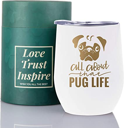 Cute Pug Stainless Steel Tumbler, Keeps Drinks Cold