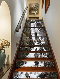 FLFK 3D Rock Stones Waterfall Stair Riser Stickers Self-Adhesive Staircase Stickers Home Decor 39.3