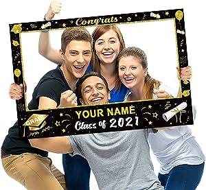 Graduation Photo Frame Party Supplies 2021 Black and Gold Decoration Large Size & Alphabet