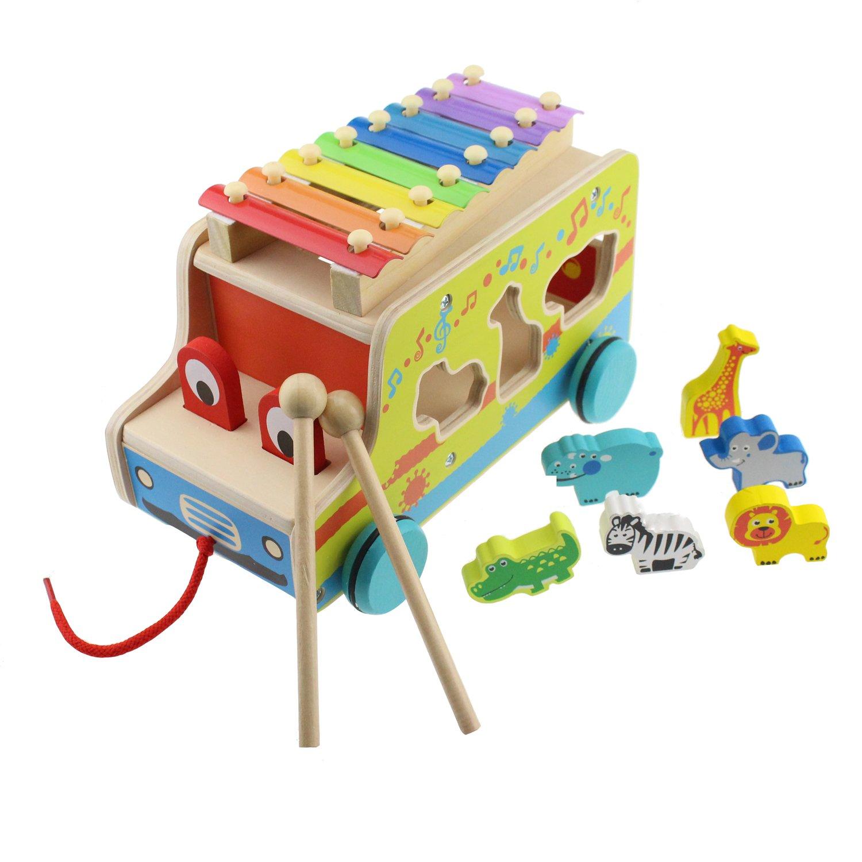 Tipmant 多機能な赤ちゃん?幼児 手押し車、木製パーカッション楽器ミュージカルおもちゃ、漫画動物の認知