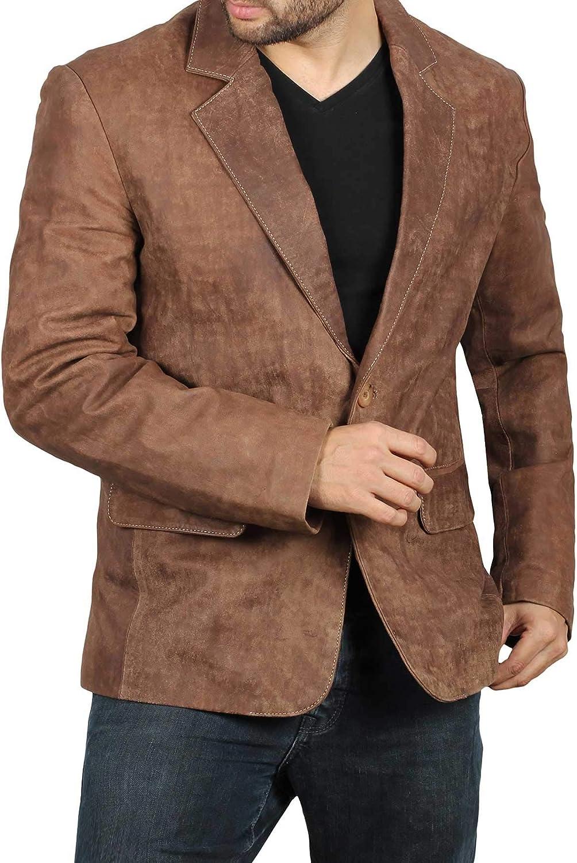Fjackets Brown Leather Travel Blazer - Men's Leather Jacket