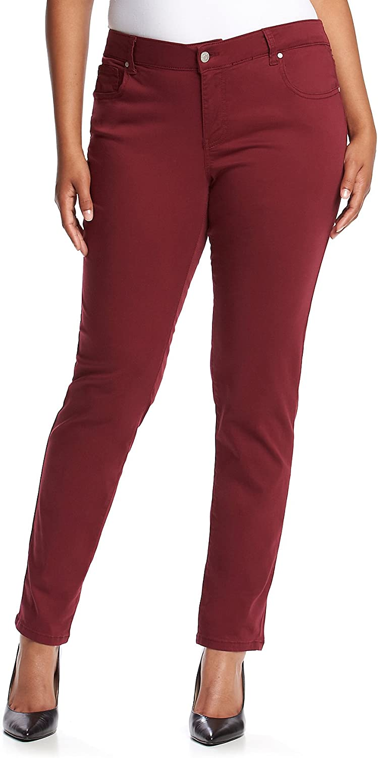 Celebrity Pink Plus Size Solid Skinny Jeans Burnt Red 14W