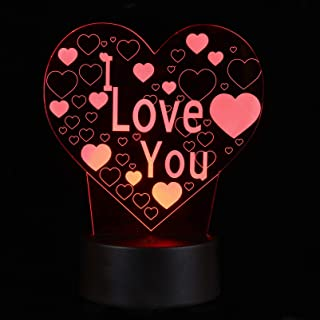 KESYOO 1pc LED Atmosphere Light 3D Heart Molding Light Colorful Tabletop Touching Light