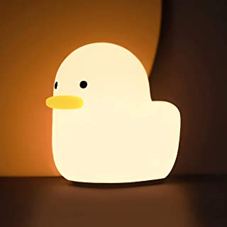 UNEEDE Luz de noche LED de silicona, adorable, recargable por USB, con forma de pato, luz de noche, lámpara de mesa táctil, cálida luz de noche para adultos, dormitorios, sala de estar