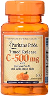 Puritan's Pride Vitamin C-500 mg with Rose Hips Time Release-100 Caplets