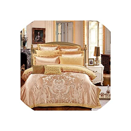 Silver Gold Luxury Silk Satin Jacquard Duvet Cover Bedding Set Queen King  Size Embroidery Bed Set Bed Sheet/Fitted Sheet Set,Color 4,Queen  6Pcs,Fitted Sheet Style : Amazon.in: Home & Kitchen