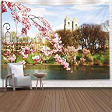 Crannel Wall Tapestry, Cherry Blossom Festival Park New Jersey Brook Tapestry 80X60 Inches Wall Thanksgiving Fall Tapestries Christmas Hanging for Dorm Room Living Home Decorative